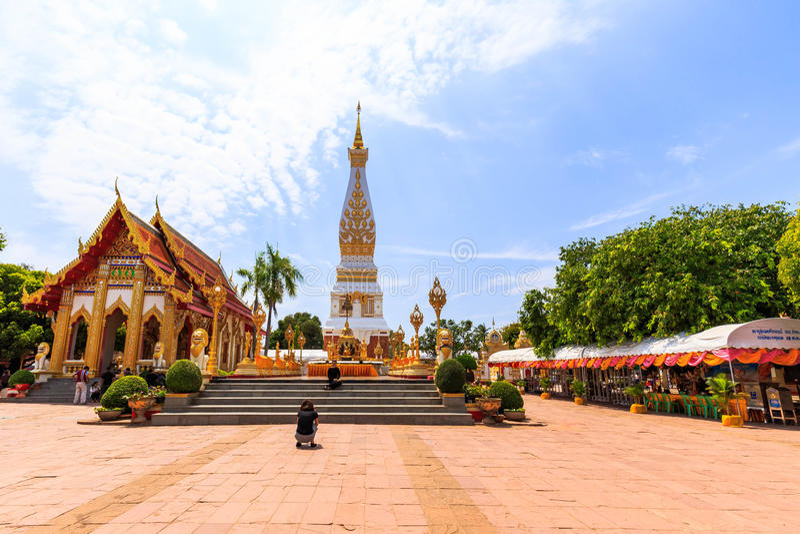 Wat Phra那Phanom佛教寺庙在Nakon Pranom泰国 免版税图库摄影