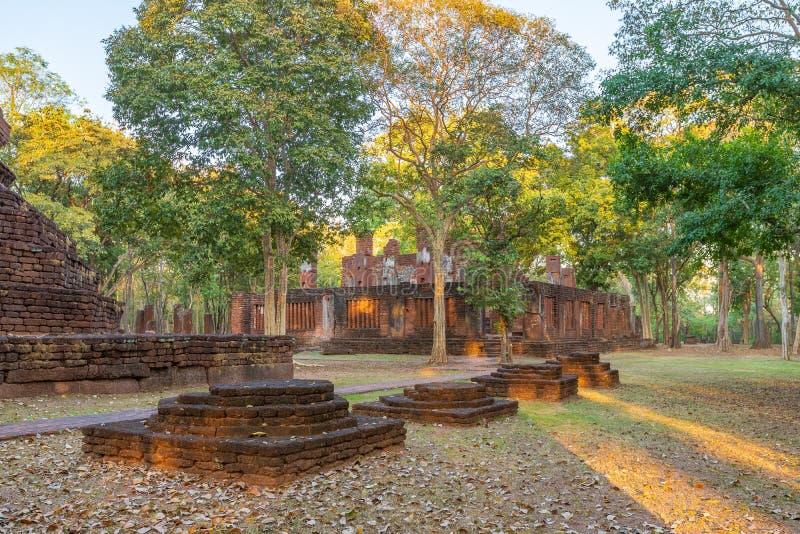 Wat Phra非斜倚的菩萨寺庙在甘烹碧府历史公园,联合国科教文组织世界遗产名录站点 免版税库存图片