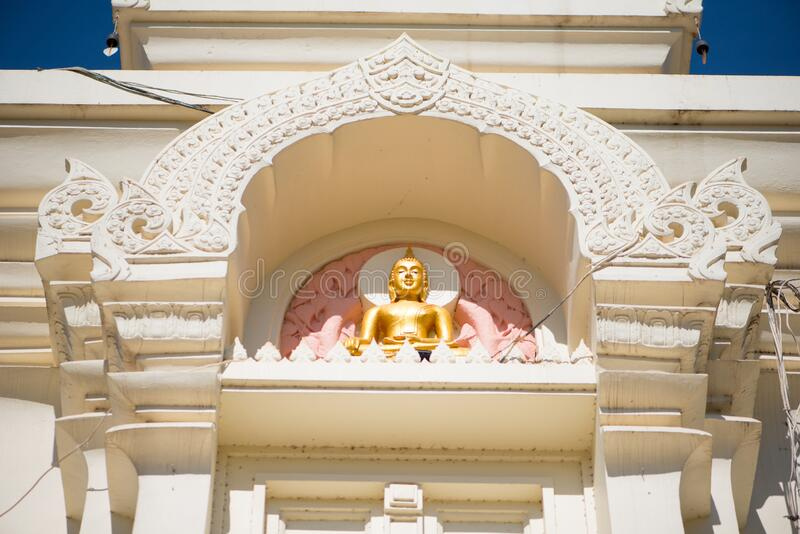 Wat Phra That Bang Phuan is the old temple in Nongkhai of Thailand. Detail pagoda of Wat Phra That Bang Phuan is the old temple in Nongkhai of Thailand royalty free stock photo