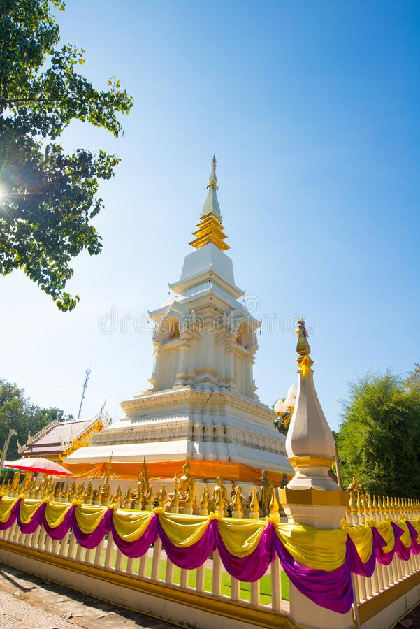 Wat Phra That Bang Phuan is the old temple in Nongkhai of Thailand. Pagoda of Wat Phra That Bang Phuan is the old temple in Nongkhai of Thailand stock image