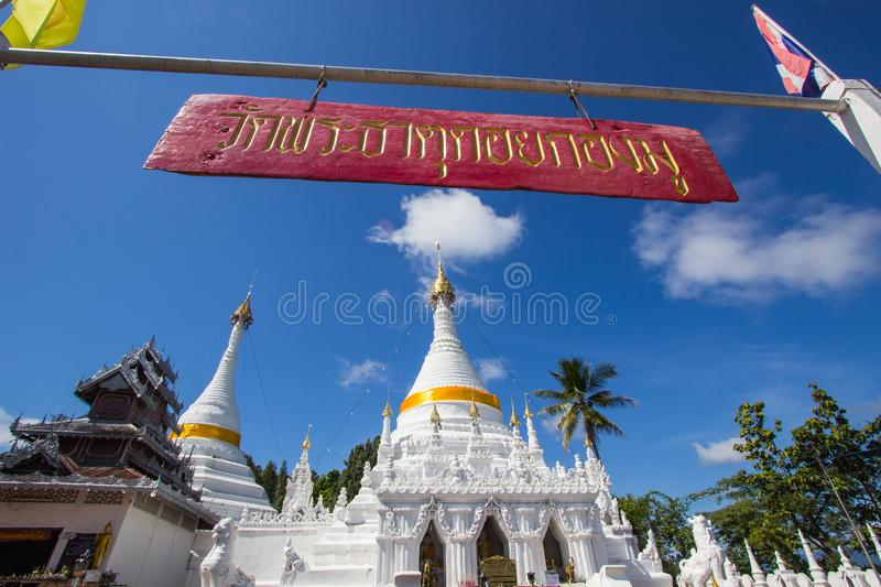 Mae Hong Son province,Northern Thailand on November 19,2017: Burmese style white chedis with beautiful sky at Wat Phra That Doi Ko royalty free stock photo