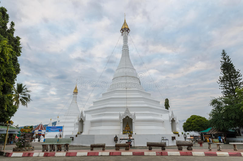 Wat Phra That Doi Kong Mu in Mae Hong Son, Thailand. Burmese-style chedi of Wat Phra That Doi Kong Mu in Mae Hong Son, Thailand. Photo taken on November 20, 2015 stock photography