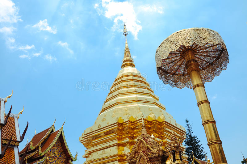 Wat Phra that doi su thep. In Chiangmai Thailand royalty free stock photo