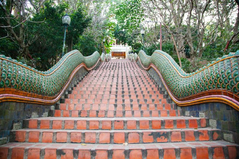 stairs to wat Phra That Doi Suthep Buddhist temple in Chiang Mai, Thailand stock photos