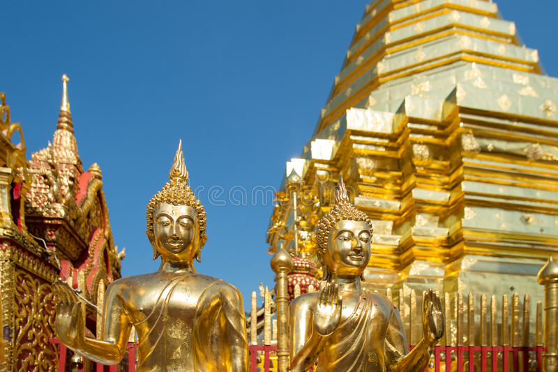Wat Phra That Doi Suthep in Chiang Mai, Thailand. Detail from Wat Phra That Doi Suthep in Chiang Mai. This Buddhist temple founded in 1383 is the most famous in royalty free stock photo