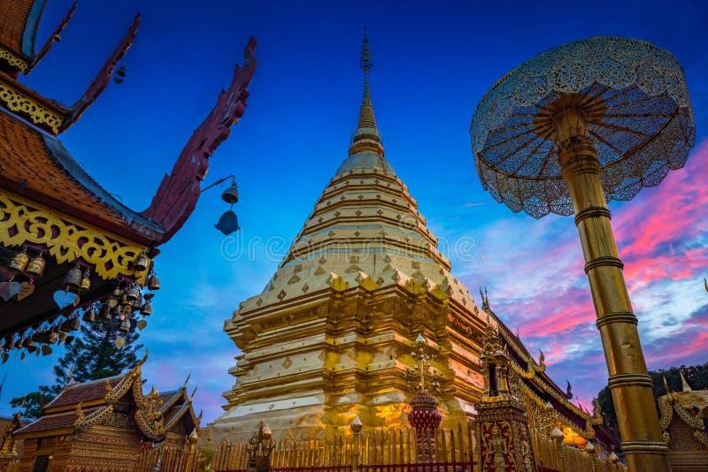 Wat Phra esse Doi Suthep O templo o mais famoso no chiangmai, T imagens de stock royalty free