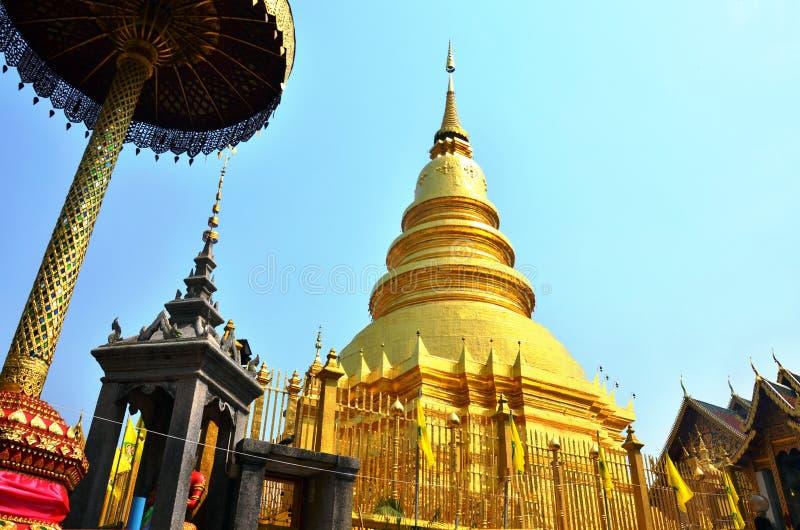 Wat Phra That Hariphunchai in Lamphun van Thailand royalty-vrije stock foto