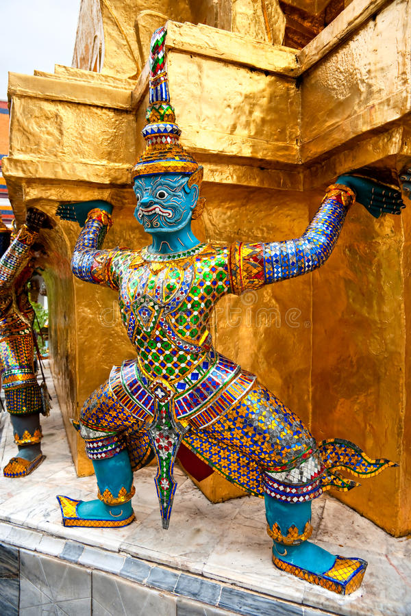 Wat Phra Kaeo Tempel, Bangkok, Thailand. stockbilder