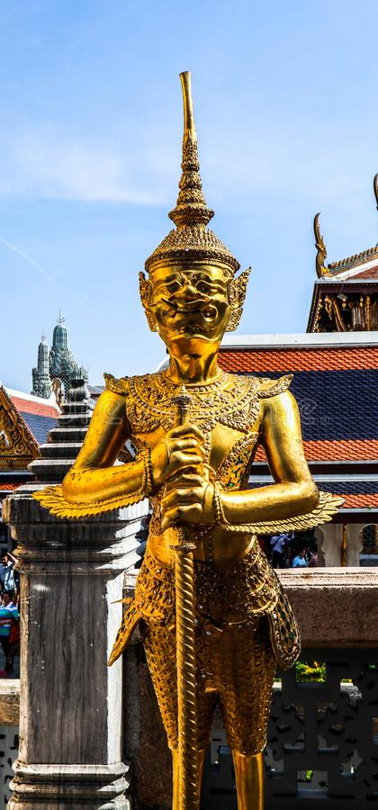 Wat Phra Kaew, commonly known in English as the Temple of the Emerald Buddha or grand palace is regarded as most sacred Buddhist stock photo