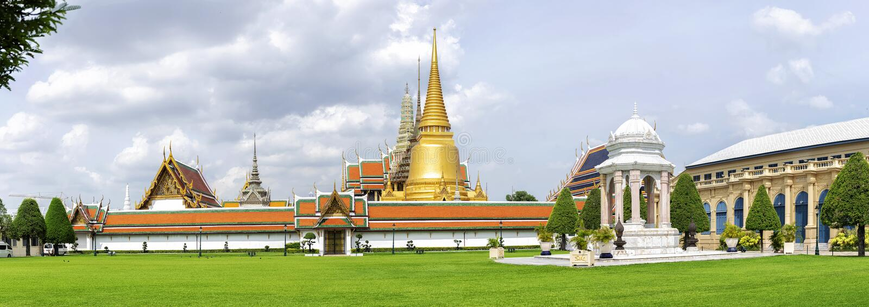 Wat Phra Kaew, interner Standort des Panoramas stockfoto