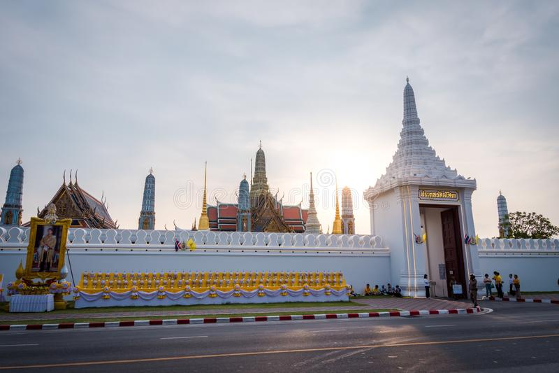 Wat Phra Kaew of Tempel van Emerald Buddha in Bangkok, Thailand royalty-vrije stock foto
