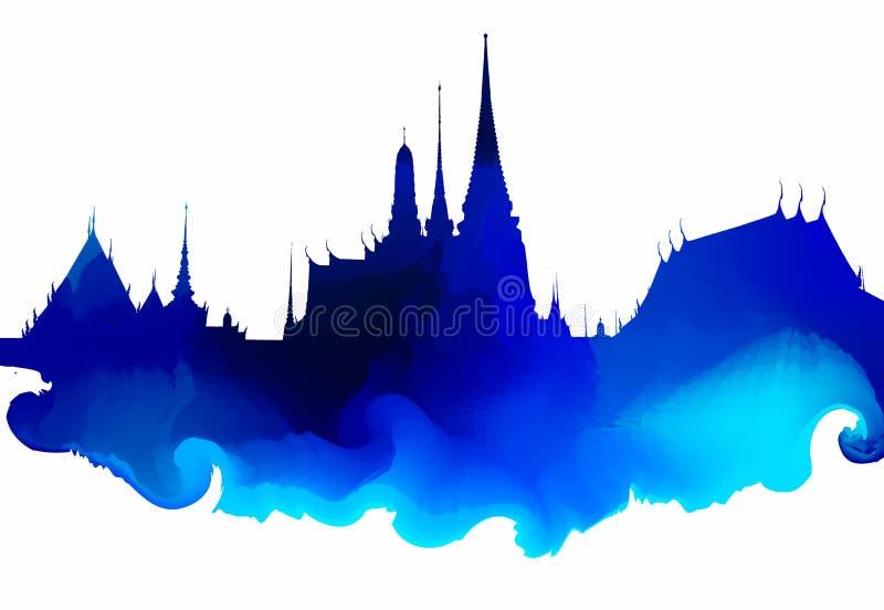 Wat phra kaew water color paint. Bangkok, Thailand royalty free stock images