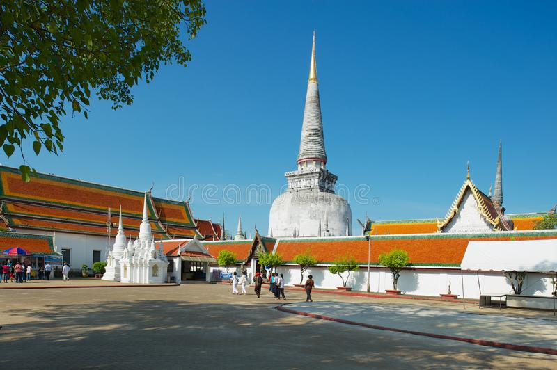 Wat Phra Mahathat Woramahawihan佛教寺庙在洛坤斯里Thammarat,泰国 库存照片