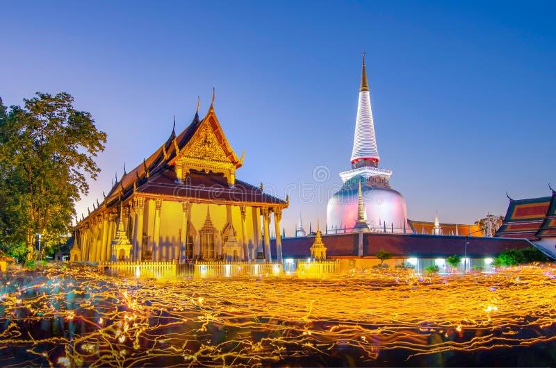 Wat Phra Mahathat Woramahawihan Nakhon Sri Thammarat Thailand stockfoto