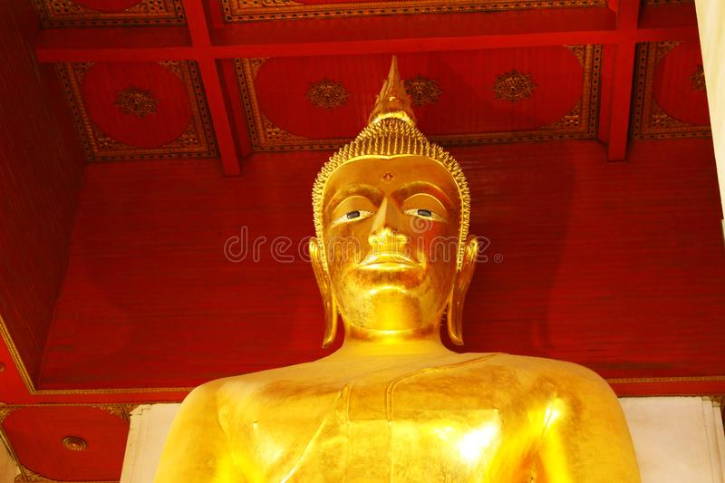 Wat Phra Mongkhon Bophit Image, Ayutthaya, Thailand. Phra Mongkhon Bophit is one of the largest bronze Buddha images in Thailand. The image is believed to have royalty free stock photo