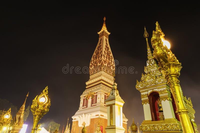 Wat Phra That Panom temple at night, Nakhon Phanom, Thailand. Wat Phra That Phanom temple at night, Nakhon Phanom, Thailand royalty free stock photos