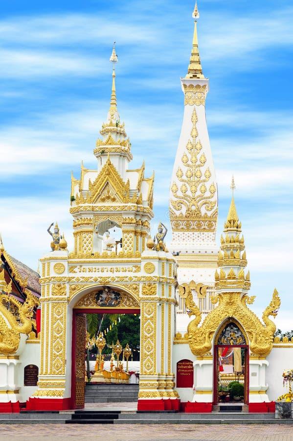Wat Phra That Phanom contiene el stupa famoso que contiene el hueso de pecho del ` s de Buda en la provincia de Nakhon Phanom, Ta fotos de archivo libres de regalías