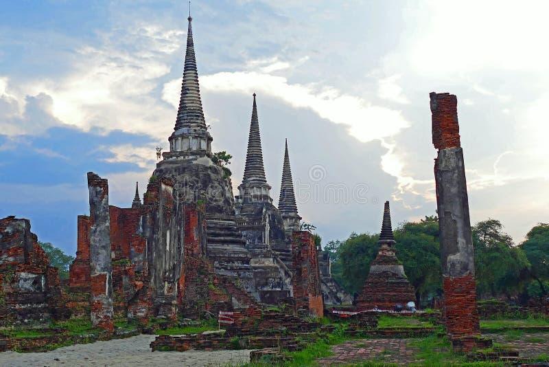 Wat Phra Si San Phet scenico a Ayutthaya, Tailandia fotografia stock