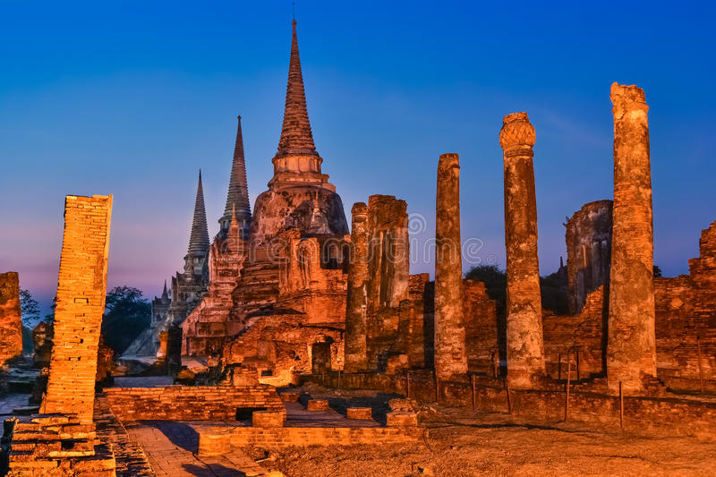 Wat Phra Si Sanphet, Ayutthaya, Thailand. Wat Phra Sri Sanphet,was exclusively used by the Ayutthayan Kings. No clergy was allowed to reside on the grounds, with royalty free stock photography
