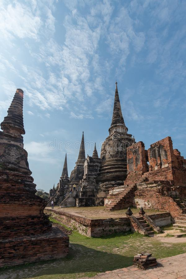 Wat Phra Si Sanphet Buddhist temple in the city of Ayutthaya Historical Park, Thailand, a UNESCO World Heritage Site. royalty free stock image