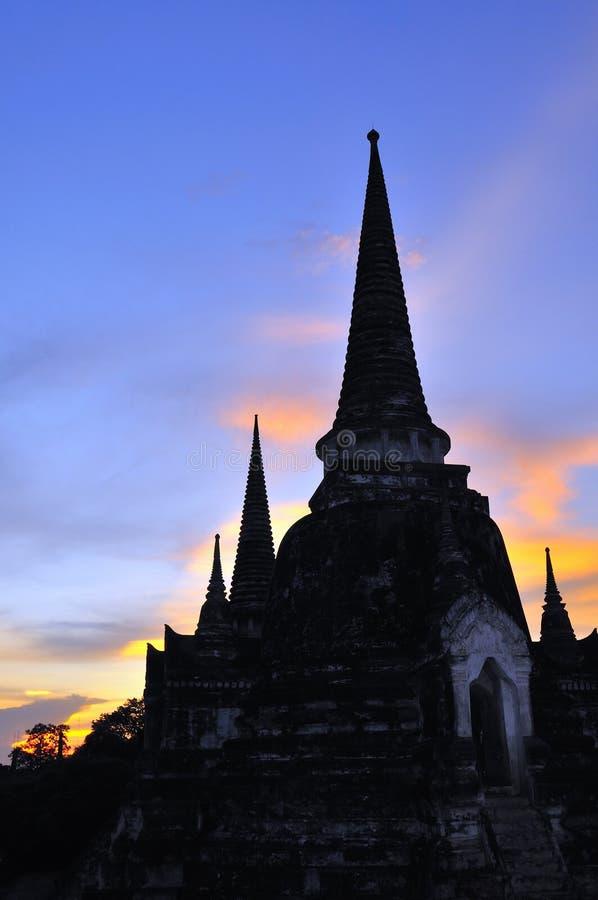 Wat Phra Si Sanphet sunset, Ayutthaya, Thailand royalty free stock photos
