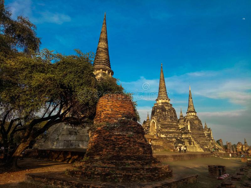 Wat Phra Si Sanphet temple in Ayutthaya Historical Park, a UNESCO world heritage site, Thailand royalty free stock image