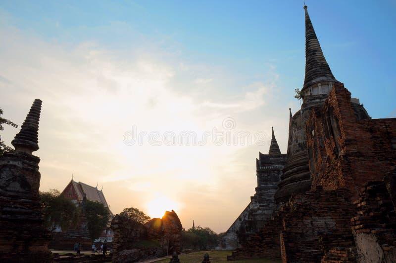 Wat Phra Si Sanphetwas der heiligste Tempel auf dem Standort alten Royal Palaces in Thailands alter Hauptstadt von Ayutthaya bis lizenzfreies stockfoto