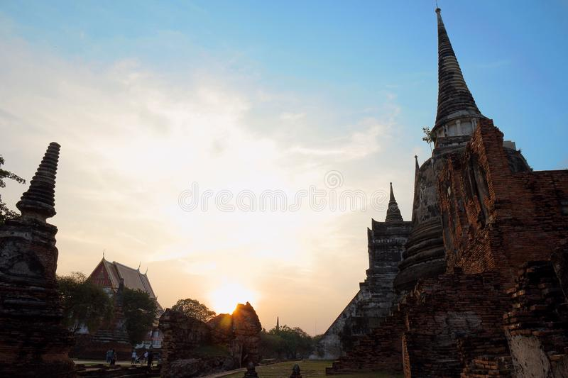 Wat Phra Si Sanphetwas the holiest temple on the site of the old Royal Palace in Thailand`s ancient capital of Ayutthaya until the. Wat Phra Si Sanphet. was the royalty free stock photo