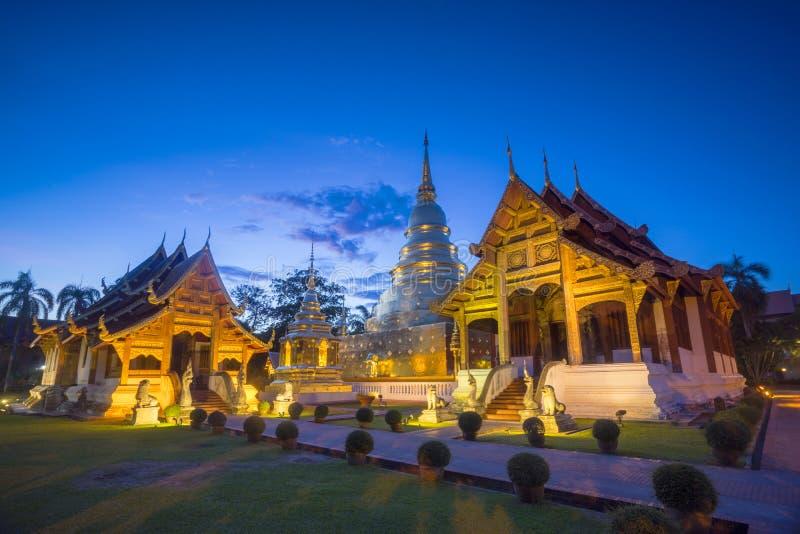 Wat Phra Sing in der Abendzeit Chiang Mai thailand lizenzfreie stockfotos