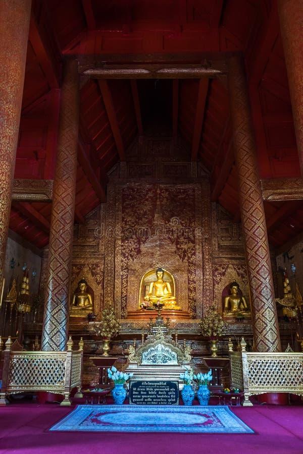 Wat Phra Singh la firma del tempio stile Lanna in Chiang Mai fotografia stock libera da diritti