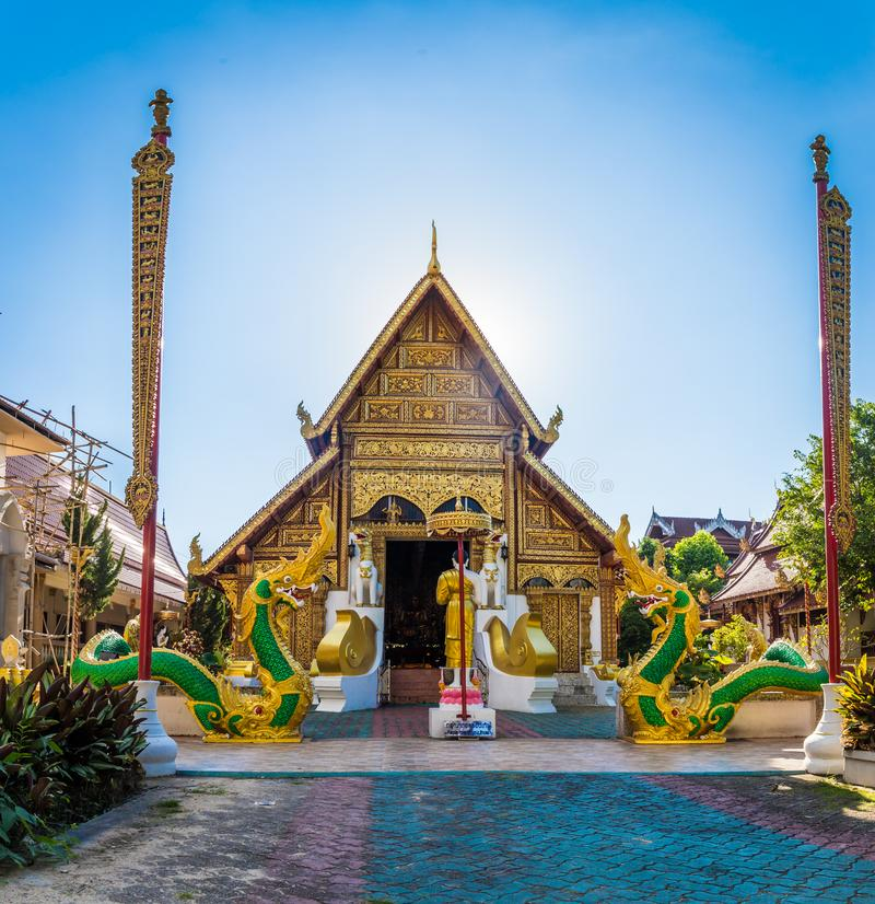 Wat Phra Singh temple is a buddhist temple located in Chiang Rai, northern Thailand. Landmark of Chiang Rai stock image