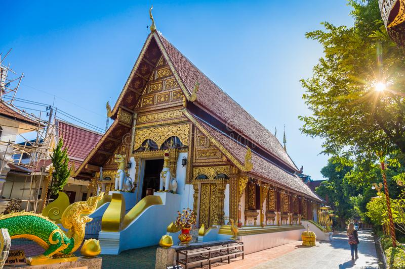 Wat Phra Singh temple is a buddhist temple located in Chiang Rai, northern Thailand. Landmark of Chiang Rai stock photos