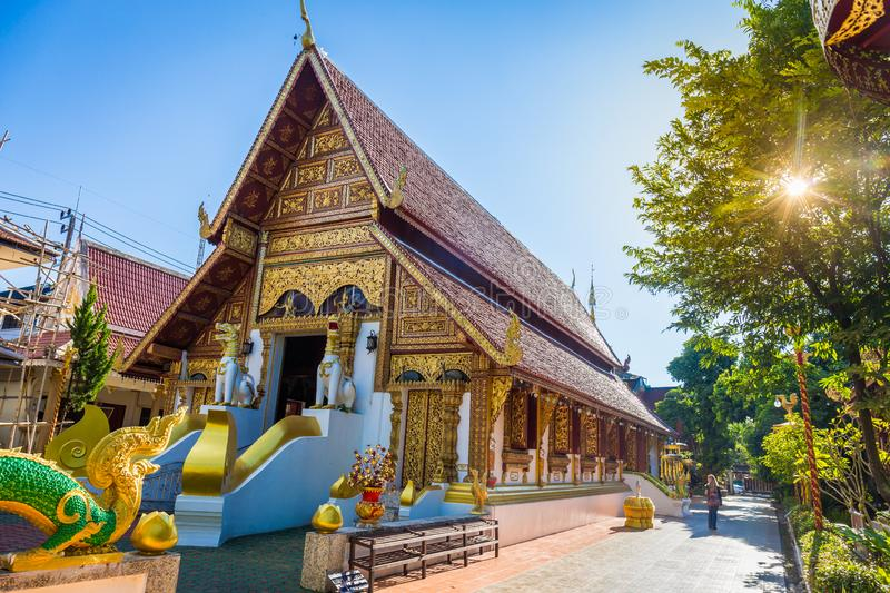 Wat Phra Singh temple is a buddhist temple located in Chiang Rai, northern Thailand. Landmark of Chiang Rai royalty free stock photos