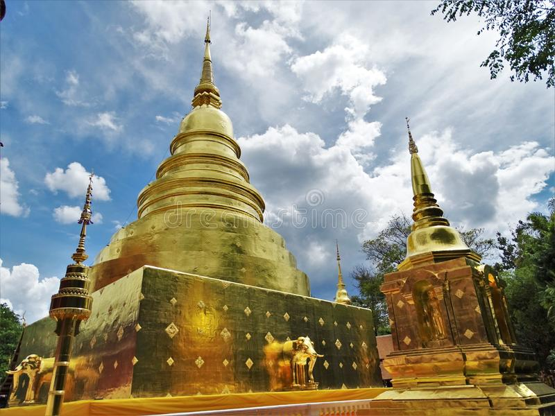 Wat Phra Singh is a tourist temple in the ancient city of Chiang Mai stock photo