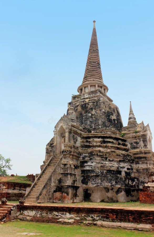 Wat Phra Sri Sanphet f?rd?rvar av den forntida kungliga templet av huvudstaden, Ayutthaya, Thailand royaltyfri bild