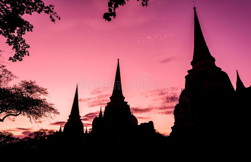 Wat Phra Sri Sanphet-tempel, Ayutthaya, Thailand royalty-vrije stock afbeelding