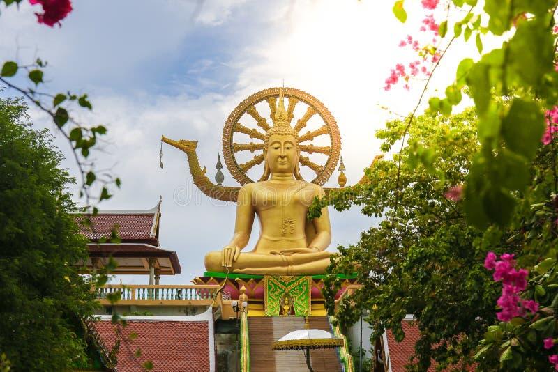 Wat Phra Yai in Samui-Insel, Thailand hat einen großen Blumenrahmen lizenzfreies stockfoto