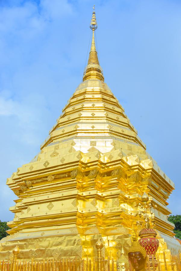 Wat Phrathat Doi Suthep or Phrathat Doi Suthep temple, The famous gold pagoda at Chiang Mai, Thailand royalty free stock images