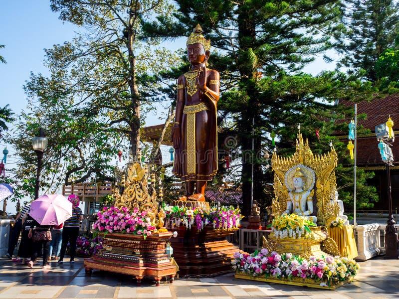 Wat Phrathat Doi Suthep-Tempel in Chiang Mai, Thailand stockbilder
