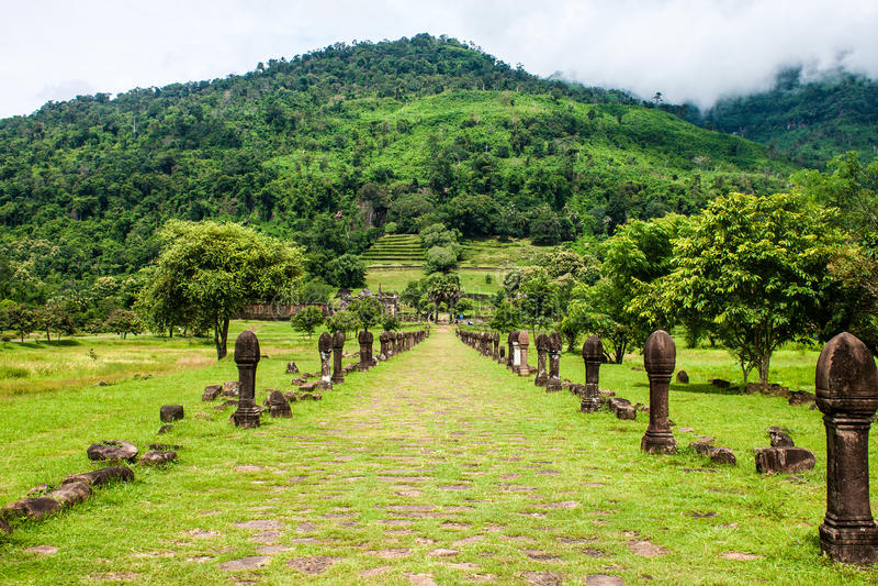 Wat Phu Champasak royaltyfria bilder