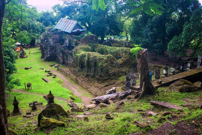 Wat Phu Champasak-tempel stock afbeeldingen
