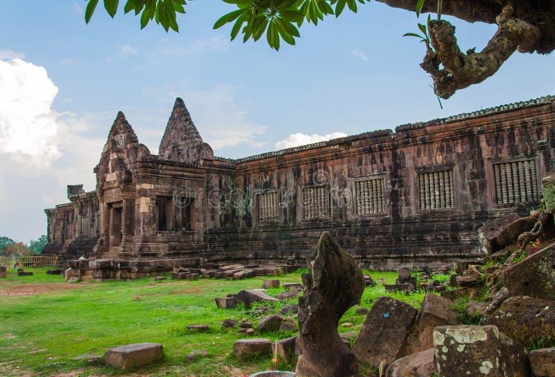 wat phukasteel bij champasak zuidelijk van Laos, Unesco-Wereld royalty-vrije stock foto's