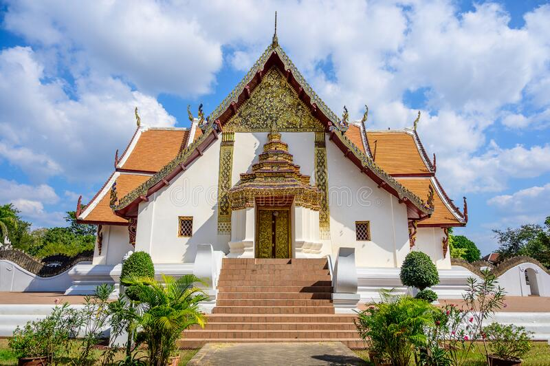 Wat Phumin Temple with blue sky background stock image