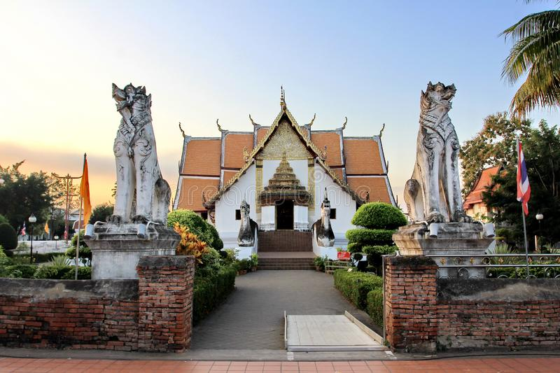 Wat Phumin is a unique thai traditional Temple and famous tourist attraction of Nan province. Thailand royalty free stock photos