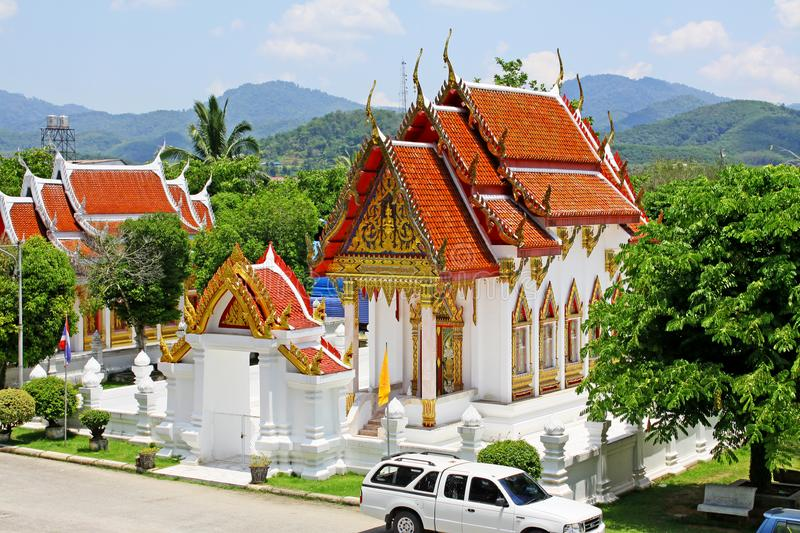 Wat Phutthathiwat, Betong, Thailand. Wat Phutthathiwat is located on a hilltop in Betong city center. This chedi is built in the modern Sivijaya style, covered royalty free stock photos