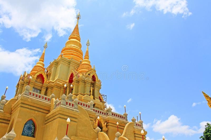 Wat Phutthathiwat, Betong, Thailand. Wat Phutthathiwat is located on a hilltop in Betong city center. This chedi is built in the modern Sivijaya style, covered stock photography