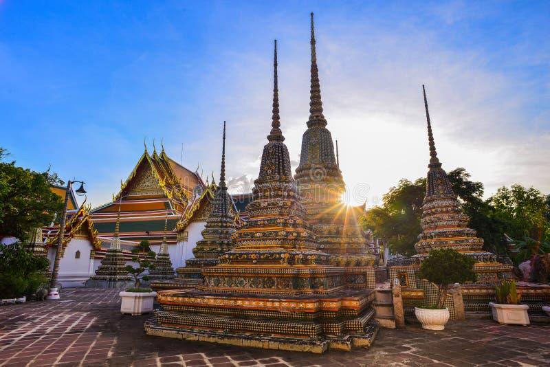 Wat Po, комплекс буддийского виска в Phra Nakhon стоковое изображение