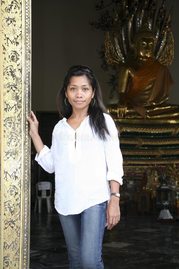 Wat po temple girl bangkok buddha thailand stock image