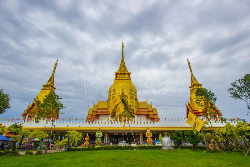 Chachoengsao Province,Thailand on June9,2018:Beautiful golden pagoda of Wat Prong Arkad in Amphoe Bang Nam Priao royalty free stock photo