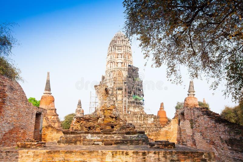 Wat Ratburana看法在阿尤特拉利夫雷斯,泰国 库存图片